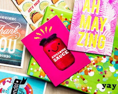 Assortment of bright colored Greeting Cards