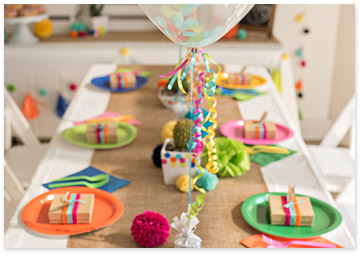 Rainbow Colored Party Table Setting