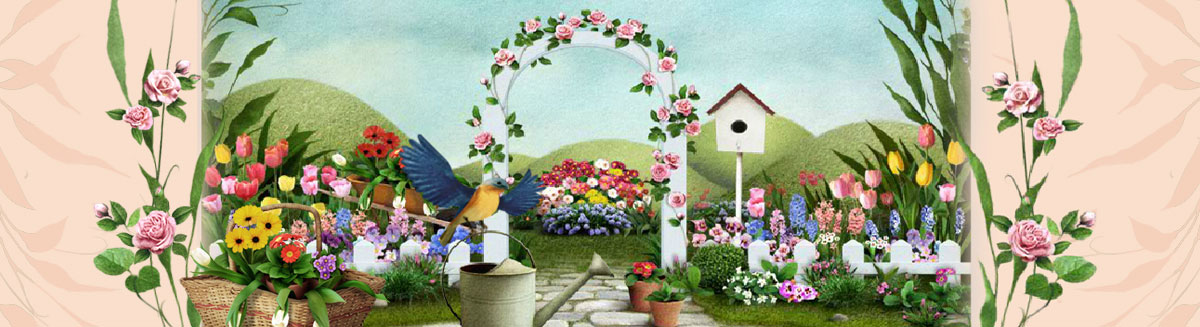 Mother's Day garden with bird and watering can landscape