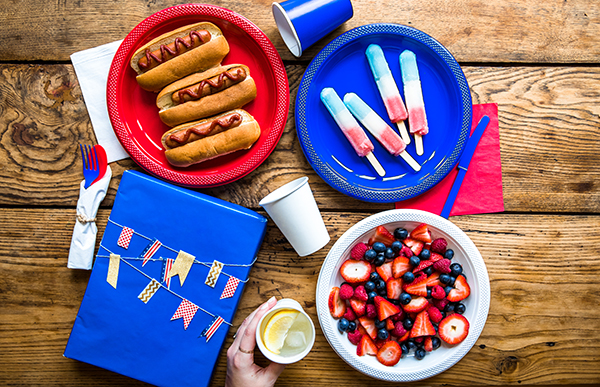 Red White and Blue Cookout with plates and c