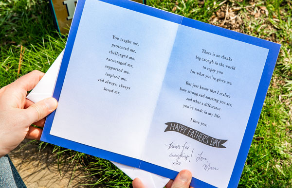Father's Day Card text with personal handwritten note