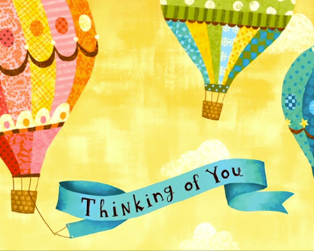 Thinking of You ribbon and balloons