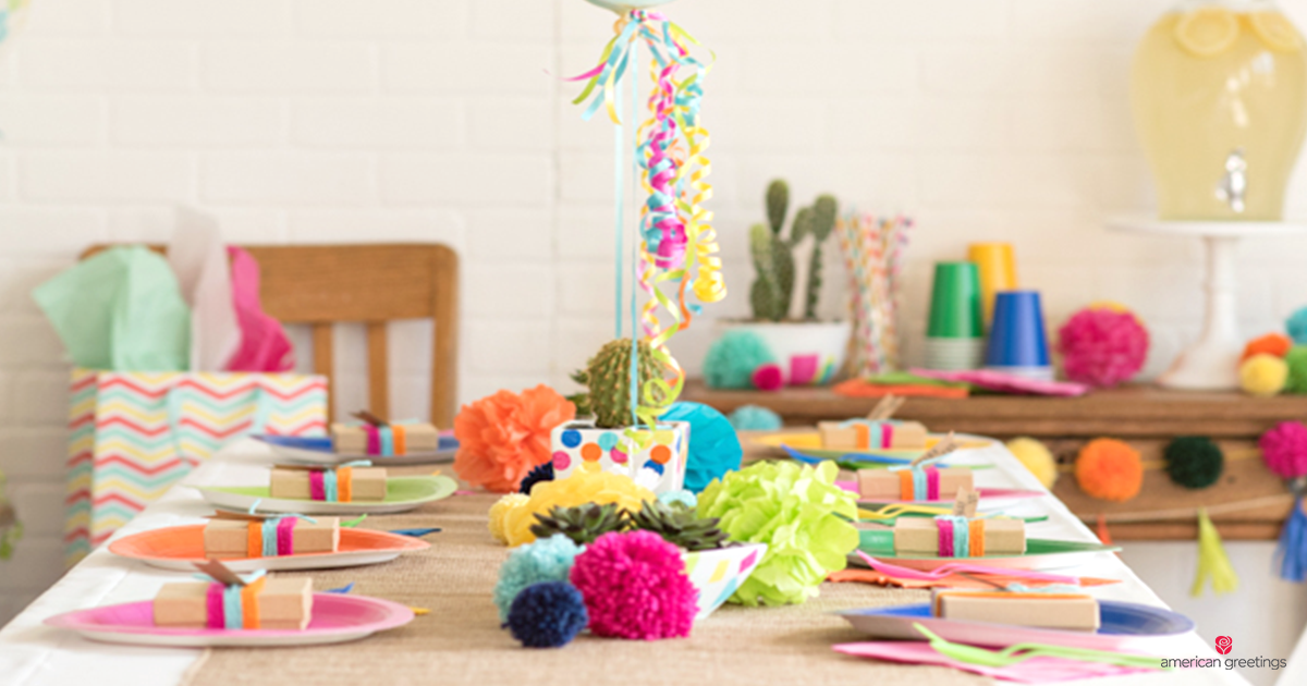 Colorful party decoration and table set up