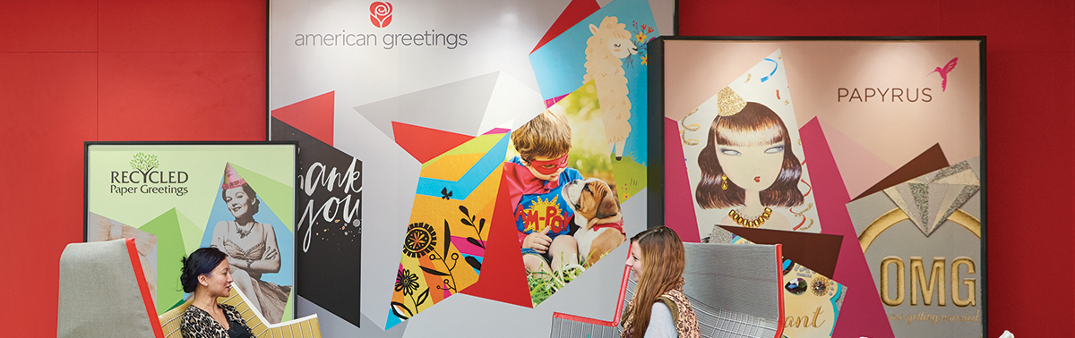 Product collage at American Greetings world headquarters