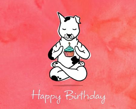 Yoga Dog Birthday Ecard - Send this ecard