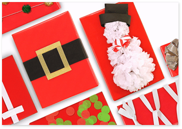 christmas gift wraps with santa's belt and snow man