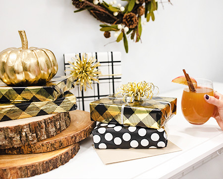 Halloween Gift Wrap and Pumpkins - See Fall Inspiration