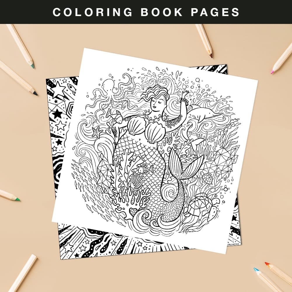 Color Book Pages - Mermaid and Star Born - View coloring book pages you can download