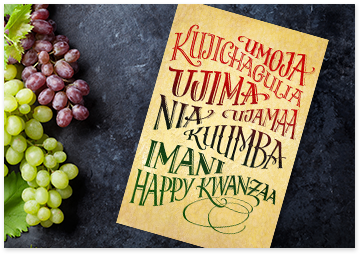 Kwanzaa wishes what to write american greetings happy kwanzaa card next to grapes m4hsunfo