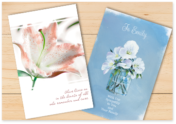 Two greeting cards: 1st with pink-and-white lillies cover and 2nd with field bindweed in a jar cover