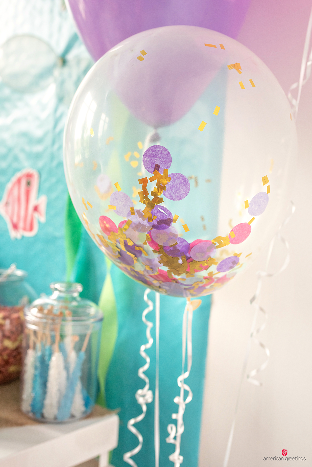 Helium balloons filled with confetti