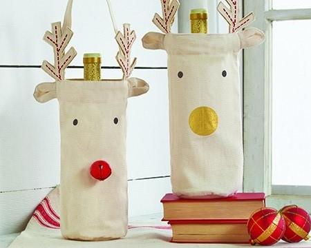 Two Reindeer Wine Bags