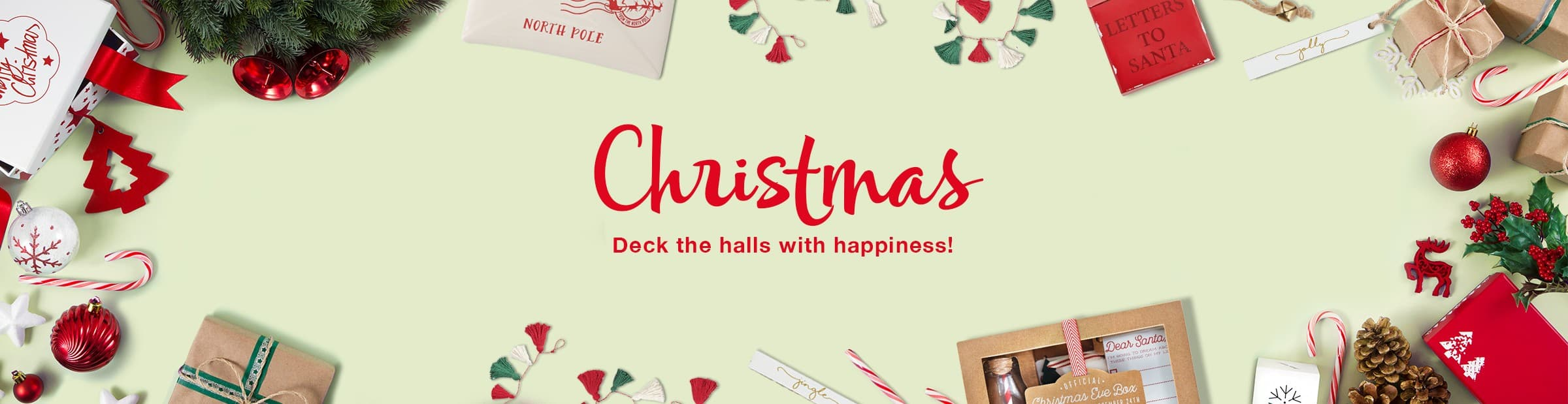 Christmas, deck the halls with happiness! Christmas gifts, ornaments, candy canes, pinecones, garland and more. Shop Christmas!