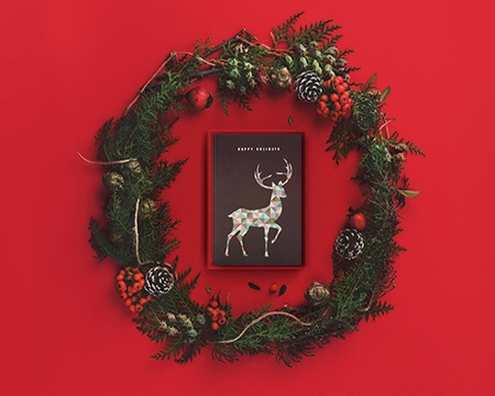 Christmas Holiday Boxed Card with Reindeer and Wreath