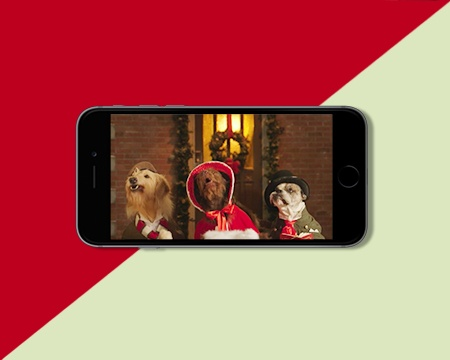 Three Dogs Singing Christmas Ecard