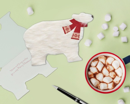 Polar Bear Christmas Greeting Card and Hot Cocoa
