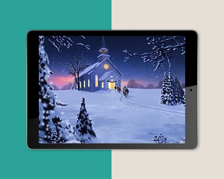 Religious Christmas Ecard with Church and Snow Background