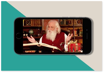 landscape image of a phone with Santa telling a story