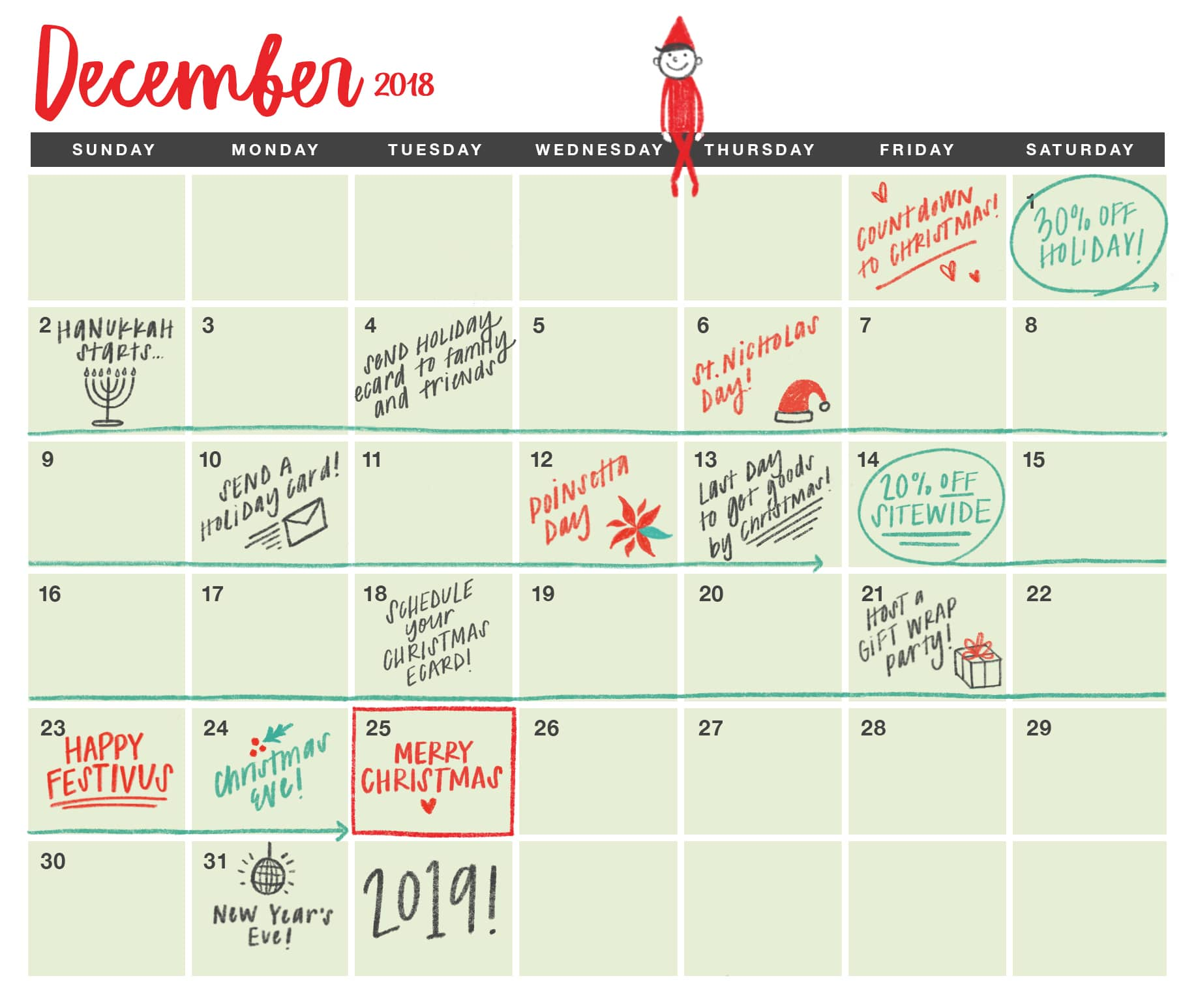 December Holiday Calendar