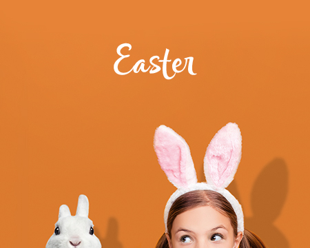 Little girl with bunnie ears and a rabbit - Shop Easter