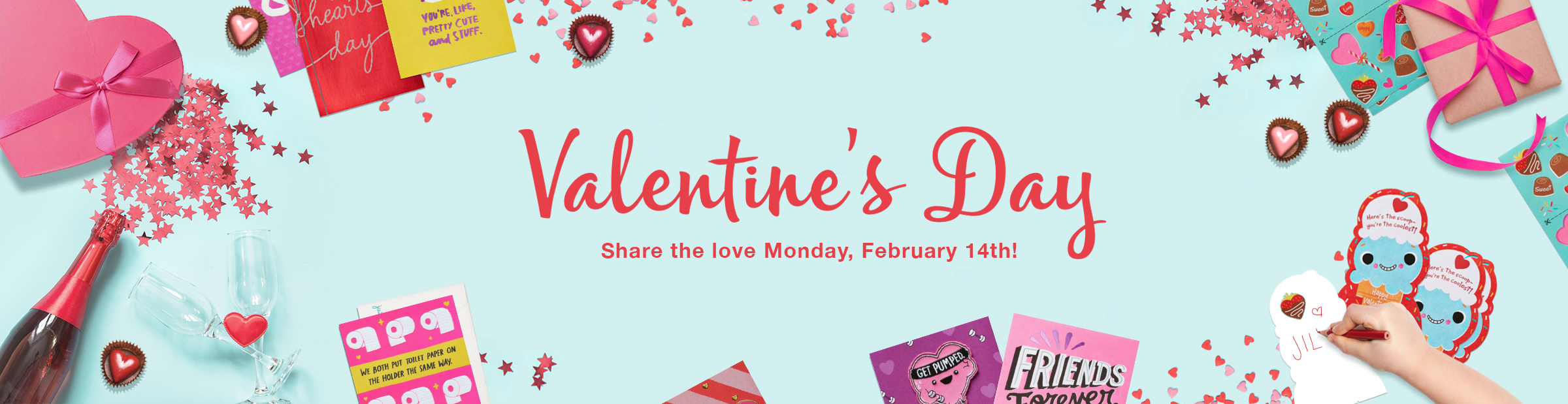 Valentine's Day Product, Cards, Gifts, Party Goods and Gift Wrap.