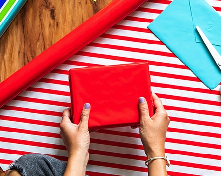 Gifts - Red Striped and Reversible Wrapping Paper.. View Gifiting Ideas.