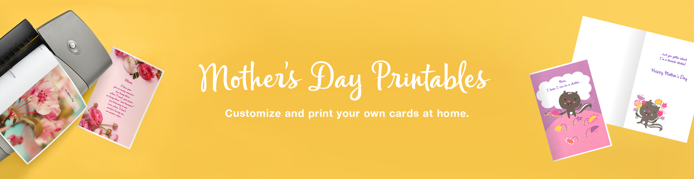 Mother's Day Printable Cards and a Printer