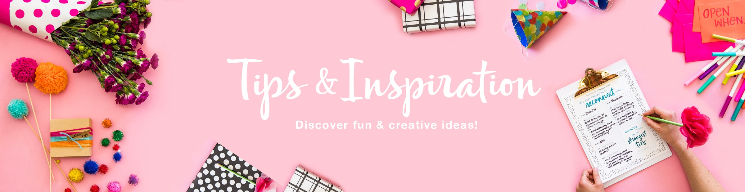 Tips and Inspiration. Stickers, flowers, cards, gift wrap, and crafts.