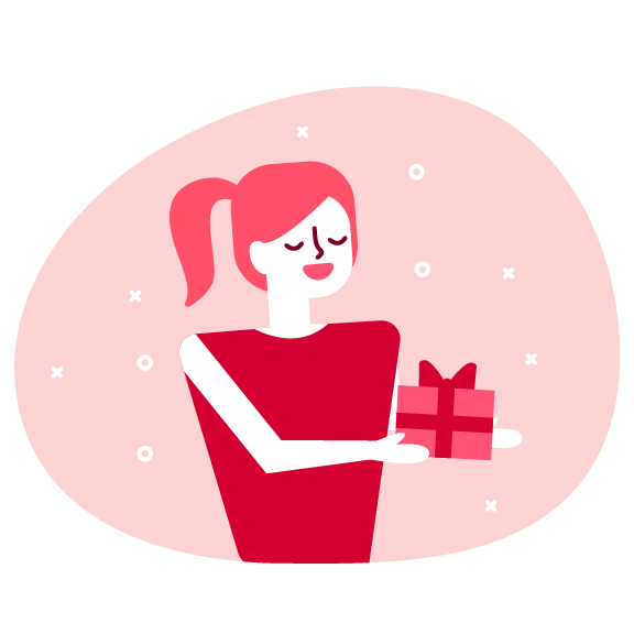 Woman holding a wrapped gift inforgraphic