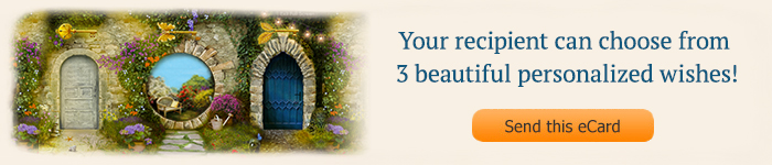 Image of 3 doorways - Your recipient can choose from 3 beautiful personalized wishes!