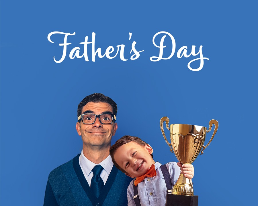 Dad holding up his child - Shop Father's Day