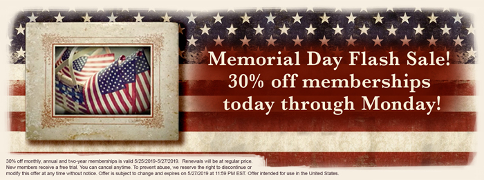 Memorial Day Flash Sale! 30 percent off memberships today through Monday!