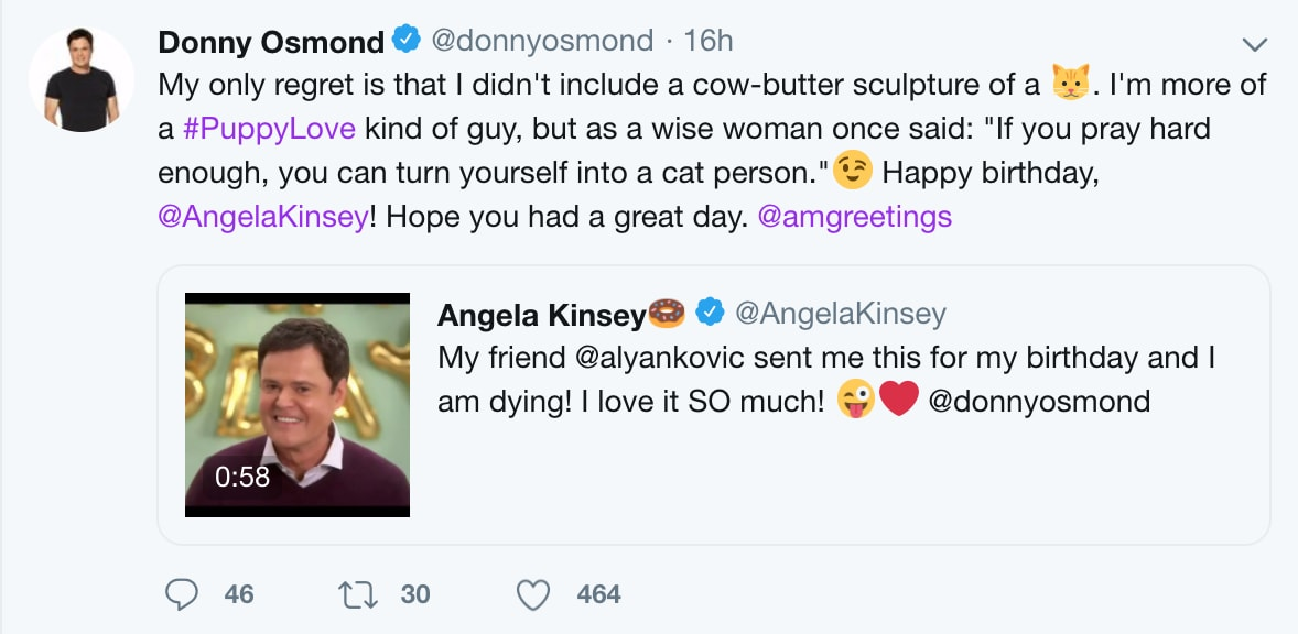 Donny Osmond Twitter Account