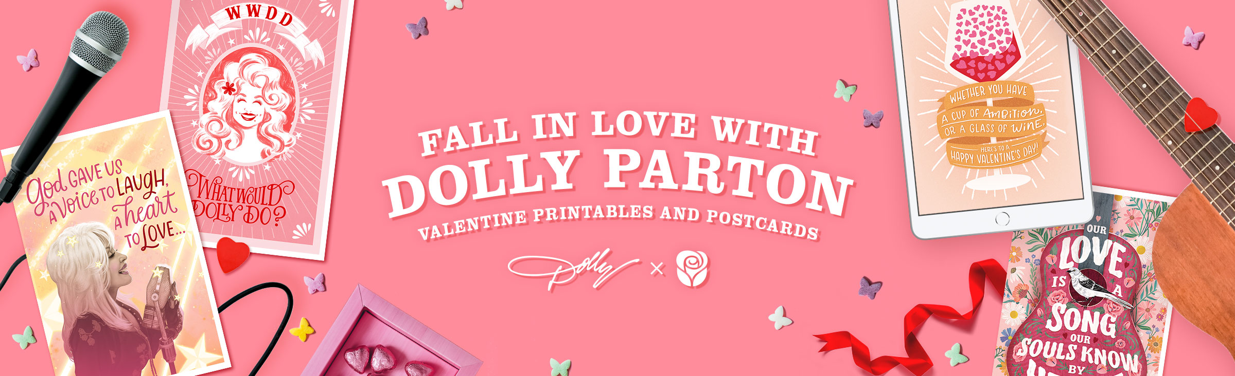 Valentine's Day Dolly Banner