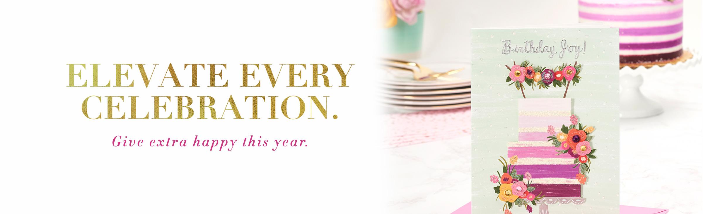 Purple cake with flowers birthday greeting card