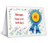 #1 Birthday and Year greeting card