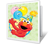 Elmo says Happy Birthday greeting card