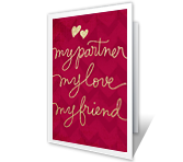 Partner, Love, and Friend greeting card