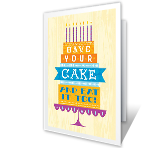 It's Cake Time Birthday Printable Cards