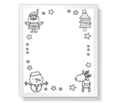 Coloring Page from Santa Christmas Printable Cards