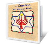 Love for Grandson Hanukkah Printable Cards