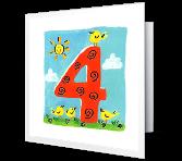 4th Birthday Milestone Birthday Printable Cards