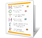 Funny Rhyme for Mother Mother's Day Printable Cards