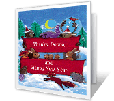 Holiday Thanks New Year's Day Printable Cards