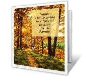 Brother and His Family Thanksgiving Printable Cards
