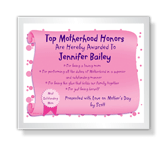 Top Mom Award certificate