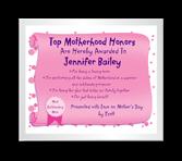 Top Mom Award certificate