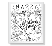 Cute Coloring Page Mother's Day Printable Cards