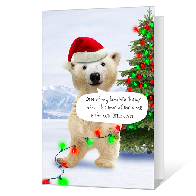Merry Polar Bear Printable Christmas Cards