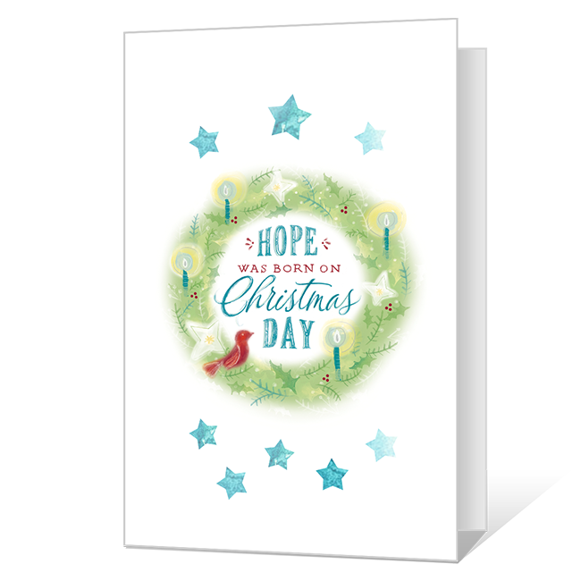 Hope Was Born Printable Christmas Cards